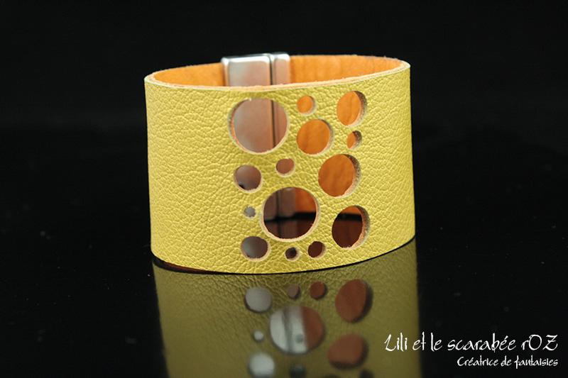 Bracelet cuir Confettis - Lili et le scarabée rOZ