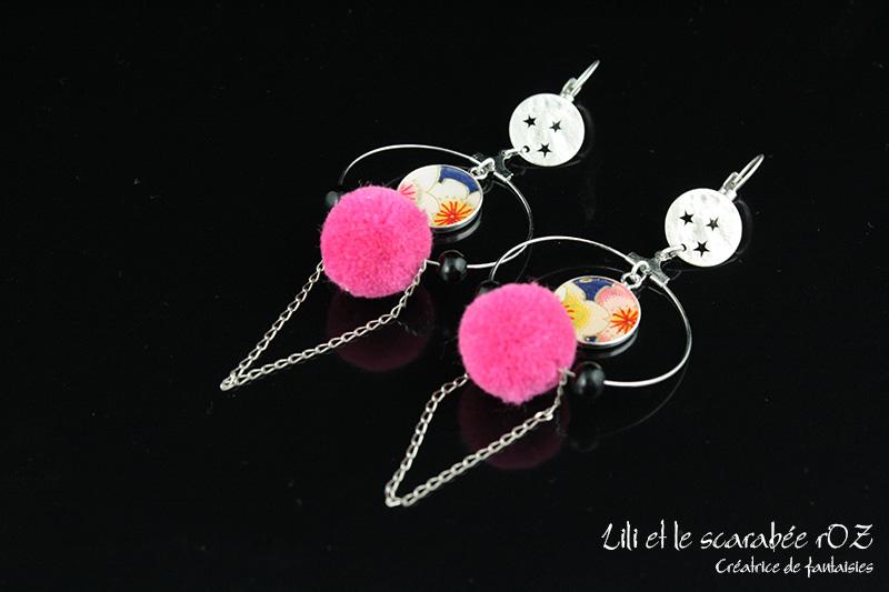 Boucles d'oreilles à pompons - Lili et le scarabée rOZ