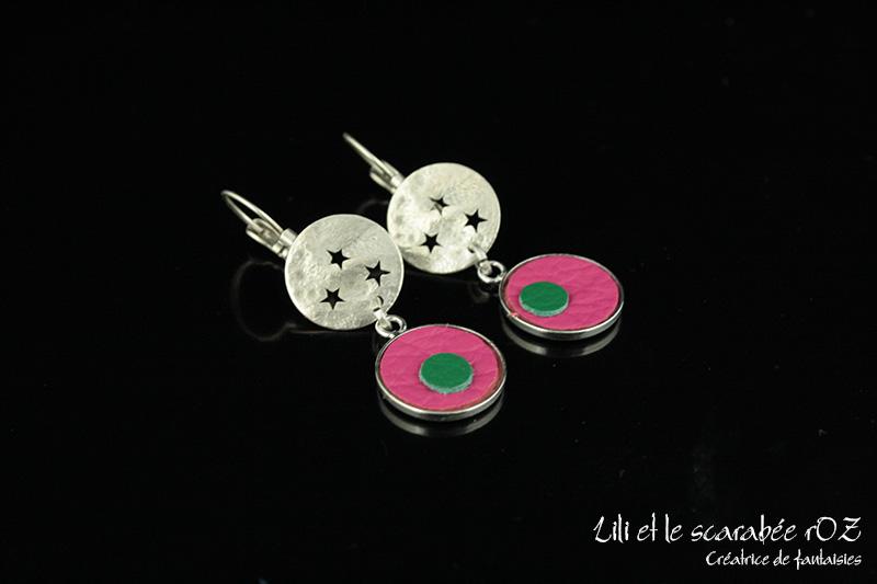 Petites boucles d'oreilles cuir confettis - Lili et le scarabée rOZ