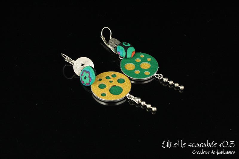 Grandes boucles d'oreilles cuir confettis - Lili et le scarabée rOZ