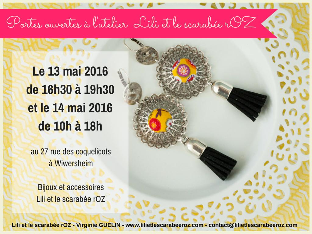 Lili et le scarabée rOZ ouvre les portes de son atelier à Wiwersheim, les 13 et 14 mai 2016, pour présenter ses nouveautés bijoux et accessoires
