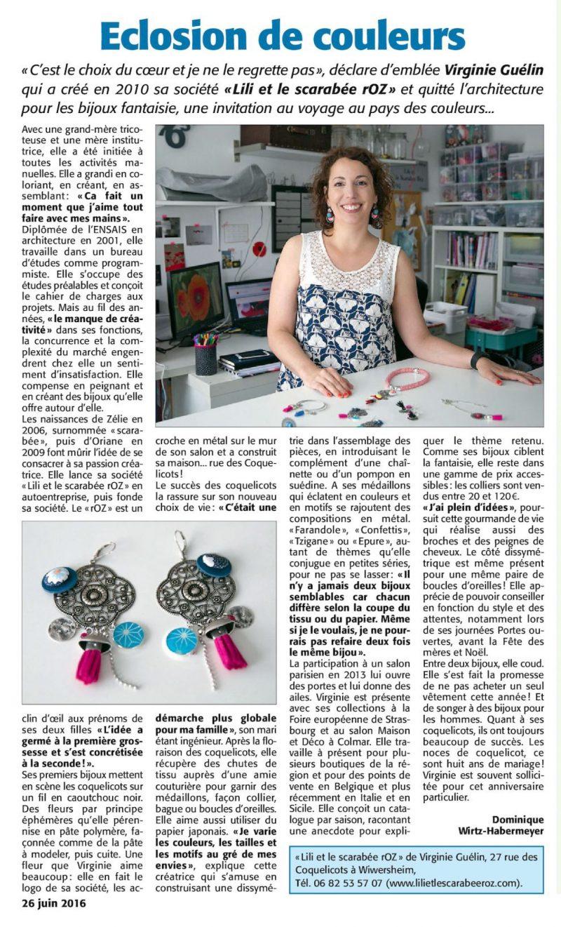 Découvrez cet article paru dans l'Ami Hebdo, parlant des bijoux Lili et le scarabée rOZ