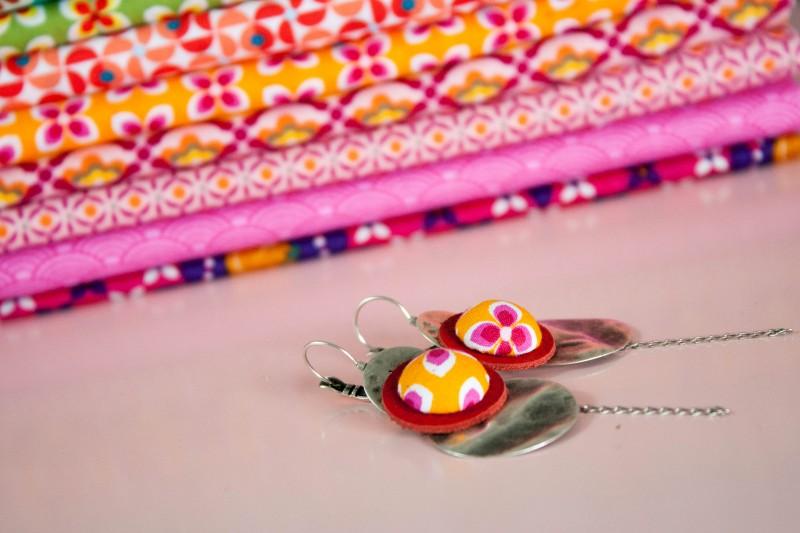 Boucles d'oreilles colorées en tissu Lili et le scarabée rOZ - Bijou de créateur