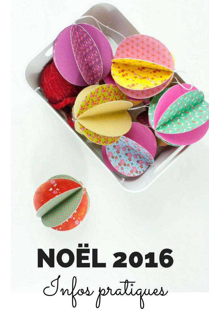 Noël 2016 chez Lili et le scarabée rOZ, informations pratiques